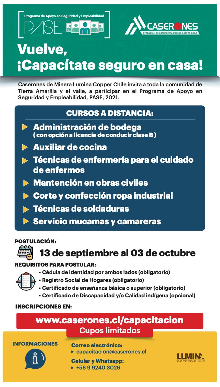 Cursos de capacitación Minera Lumina Copper Chile 2021